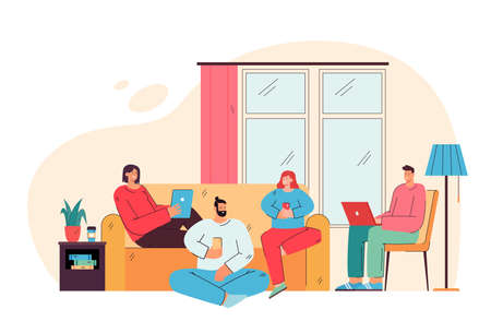 Happy friends sitting in living room with digital devices flat vector illustration. Cartoon users spending time together and using computers and smartphones. Internet surfing and network concept