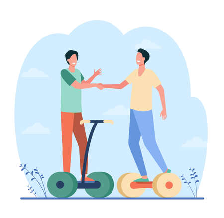 Happy male friends shaking hands. Guys riding hoverboards, meeting outside. Flat vector illustration. Urban electric transport, active lifestyle concept for banner, website design or landing web page 矢量图像