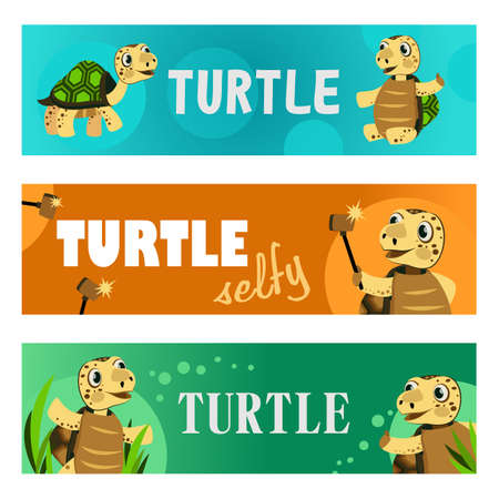 Creative banner designs with lovely turtles. Vivid brochures for cute smiling sea creature. Marine wildlife and animals concept. Template for poster, promotion or web design