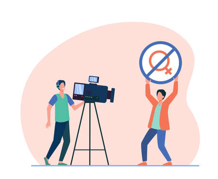Influencer or activist showing no woman allowed sign at camera. Sexist, cameraman. Flat vector illustration. Gender discrimination concept for banner, website design or landing web page