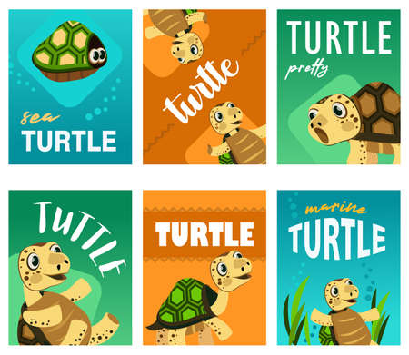 Bright leaflet designs with cute turtle. Colored funny marine character in different poses on cards. Marine wildlife and animals concept. Template for promotional leaflet or flyer 矢量图像