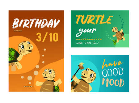 Trendy celebration party invitation designs with turtle. Creative birthday invitations with funny turtle. Marine wildlife and animals concept. Template for leaflet, banner or flyer