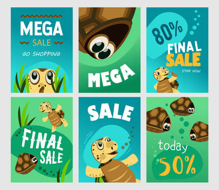 Mega sale brochure designs with cheerful turtle. Bright promotion for shopping today with cute character. Marine wildlife and animals concept. Promotional template for advertising leaflet or flyer 矢量图像
