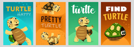 Trendy poster designs with happy turtle. Vivid brochures with sea turtle character on bright background. Marine wildlife and animals concept. Template for promotional leaflet or flyer