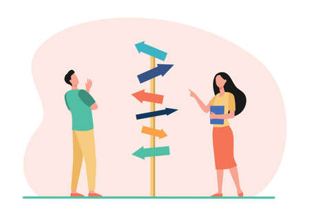 Pensive man and woman choosing direction. Arrow, path, business flat vector illustration. Decision and strategy concept for banner, website design or landing web page