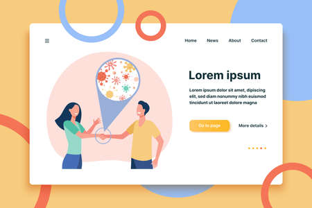 Transmission of infection. Couple shaking hands, communicating disease to each other. Flat vector illustration. Social contact and epidemic concept for banner, website design or landing web page