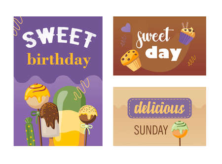 Stylish invitation designs on sweet day party. Creative colorful birthday invitations with different desserts. Tasty food and confectionery concept. Template for leaflet, banner or flyer