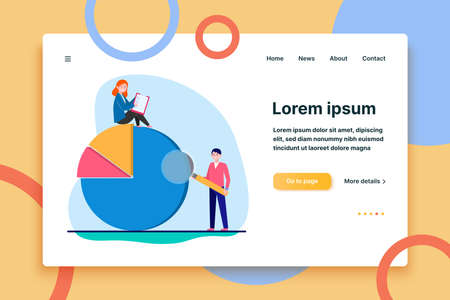Professionals analyzing diagram. Two people with survey form and magnifier, pie chart flat vector illustration. Analysis, marketing report concept for banner, website design or landing web page