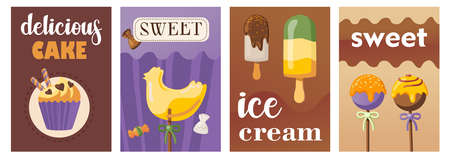 Trendy poster designs with cakes and sweets. Vivid brochures with lollipop, candy and ice cream on bright background. Tasty food and confectionery concept. Template for promotional leaflet or flyer