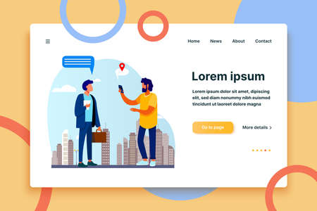 People using location app on phone. Asking way, speech bubble with map pointer flat vector illustration. Navigation, travel, communication concept for banner, website design or landing web page