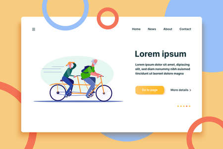 Two people riding tandem bike. People spending time together flat vector illustration. Leisure activity, hobby concept for banner, website design or landing web page.