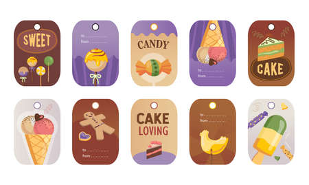 Stylish special tag designs for candy or sweet shop. Cartoon different desserts on colorful background. Tasty food and confectionery concept. Template for greeting labels or invitation card