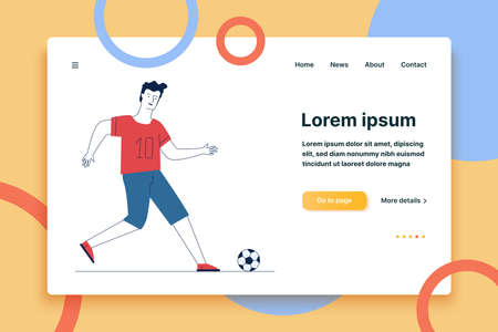 Young man playing football. Cartoon character kicking soccer ball flat vector illustration. Summer activity, competition, hobby concept for banner, website design or landing web page