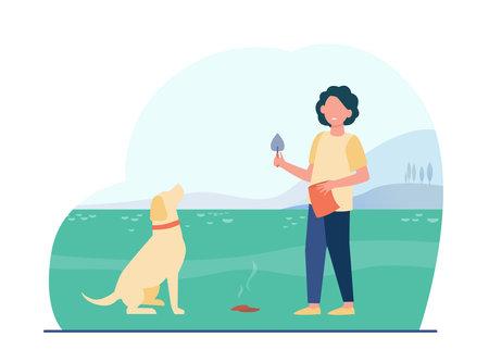 Owner cleaning up after dog. Kid walking pet with trowel and bag. Flat vector illustration. Hygiene, animal keeping, responsibility concept for banner, website design or landing web page