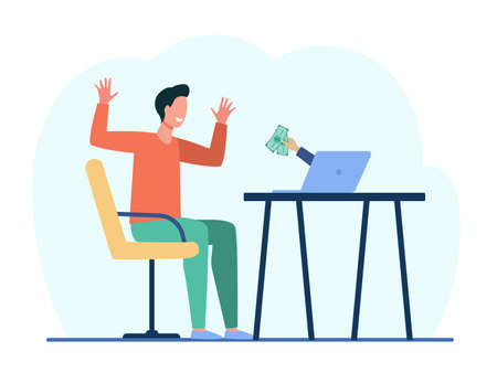 Excited laptop user winning money prize. Winner, reward, cash back. Flat vector illustration. Financial benefit, betting, lottery concept for banner, website design or landing web page