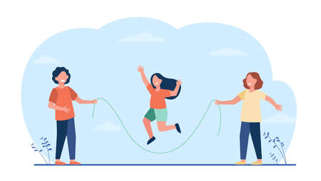 Happy kids jumping rope. Children having fun playing in park outdoors. Flat vector illustration. Childhood, outdoor activities, vacation concept for banner, website design or landing web page