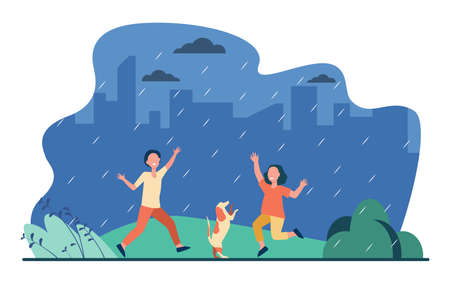 Kids and dog dancing in rain in park. Happy children with pet having fun outdoors. Flat vector illustration. Childhood, outdoor activities concept for banner, website design or landing web page