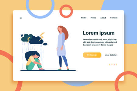 Young woman giving support to female friend. Depressed person, consoling, giving comfort flat vector illustration. Depression, help, friendship concept for banner, website design or landing web page Ilustración de vector