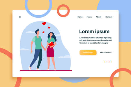 Young couple standing and holding hands. Heart, girlfriend, boyfriend flat vector illustration. Love and relationship concept for banner, website design or landing web page  イラスト・ベクター素材