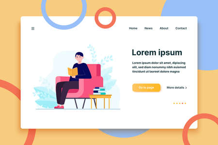 Young man sitting in armchair and reading book. Story, home, reader flat vector illustration. Hobby and isolation concept for banner, website design or landing web page  イラスト・ベクター素材