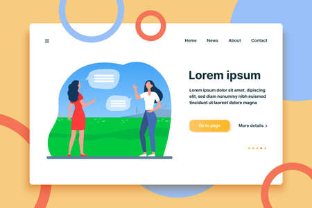 Women keeping social distance. Female friends meeting and talking outdoors flat vector illustration. Communication, pandemic, epidemic concept for banner, website design or landing web page