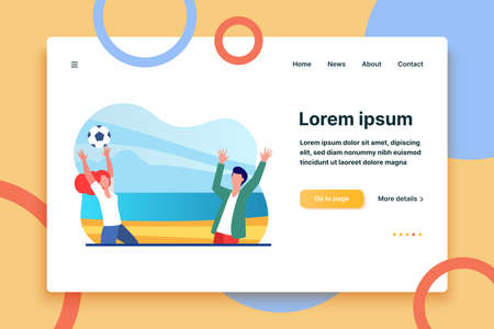 Young couple playing with ball on sea beach. Travel, fun, player flat vector illustration. Summer vacation and sport game concept for banner, website design or landing web page  イラスト・ベクター素材