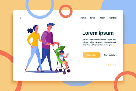 Young parents walking with child. Family, love, togetherness flat vector illustration. Leisure activity and parenting concept for banner, website design or landing web page  イラスト・ベクター素材