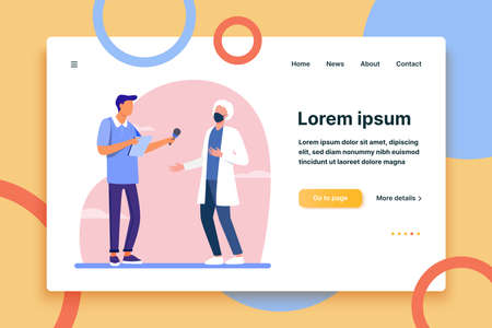 Young guy interviewing doctor in mask. Microphone, quarantine, reporter flat vector illustration. Pandemic and protection concept for banner, website design or landing web page
