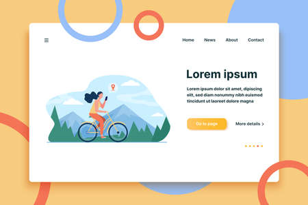 Woman riding bike by mountains. Girl cycling and consulting location app on cell flat vector illustration. Activity, path searching concept for banner, website design or landing web page  イラスト・ベクター素材