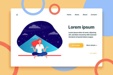 Woman doing yoga at night. Meditating girl sitting in lotus pose at mountain peak flat vector illustration. Meditation, lifestyle, wellness concept for banner, website design or landing web page