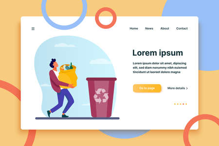 Young guy carrying bag with garbage to trash bin. Container, rubbish, junk flat vector illustration. Ecology and recycling concept for banner, website design or landing web page