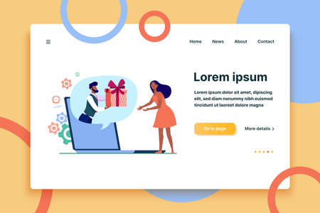 Woman getting virtual gift. Man giving present box, speech bubble from laptop screen flat vector illustration. Bonus, discount, promotion concept for banner, website design or landing web page
