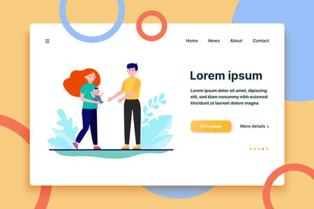Young couple holding baby in arms. Happy new parents, mother, father flat vector illustration. Family, parenthood, child care concept for banner, website design or landing web page  イラスト・ベクター素材