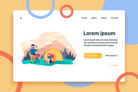 Young couple camping at mountains. Tent, barbeque, nature flat vector illustration. Summer vacation and active leisure concept for banner, website design or landing web page  イラスト・ベクター素材