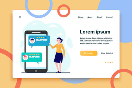 Woman reading customer feedback and rating. Smartphone, chat, comment flat vector illustration. Communication and digital technology concept for banner, website design or landing web page  イラスト・ベクター素材
