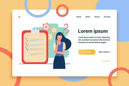Woman coming up with ideas for new project. Check list, plan. Flat vector illustration. Project concept can be used for presentations, banner, website design, landing web page