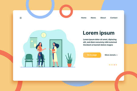 Woman visiting vet doctor with cat. Hospital, pet, examination flat vector illustration. Veterinary medicine and domestic animals concept for banner, website design or landing web page