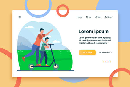 Young father riding on electric scooter with son. Family, landscape, park flat vector illustration. Activity and summer vacation concept for banner, website design or landing web page  イラスト・ベクター素材