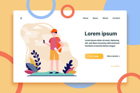Young traveler standing with smartphone and map. Backpack, trip, nature flat vector illustration. Summer vacation and active leisure concept for banner, website design or landing web page  イラスト・ベクター素材