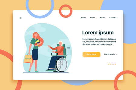 Volunteer bringing food to disabled woman. Donation, wheelchair, handicapped person flat vector illustration. Disability, volunteering, help concept for banner, website design or landing web page