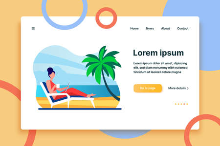 Woman sitting on beach chair by sea. Drinking coffee, using tablet, tropical resort flat vector illustration. Freelance, vacation, communication concept for banner, website design or landing web page