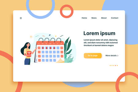 Woman checking menstruation calendar. Period, blood, lady flat illustration. Female health and organism concept for banner, website design or landing web page  イラスト・ベクター素材