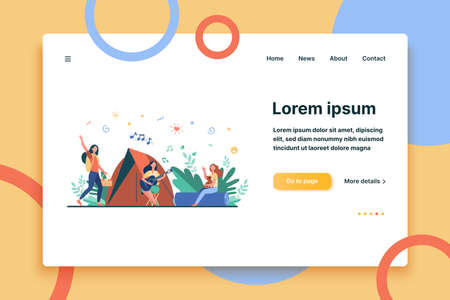 Women having rest and singing songs near tent. Trip, nature, leisure. Flat vector illustration. Camping concept can be used for presentations, banner, website design, landing web page