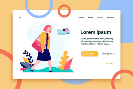 Young sleepy woman going to work or study. Job, dream, breakdown flat vector illustration. Lifestyle and exhaustion concept for banner, website design or landing web page