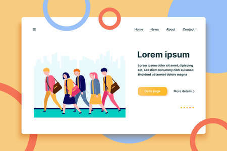 Young sleepy people going to work or study. Occupation, fatigue, apathy flat vector illustration. Lifestyle and exhaustion concept for banner, website design or landing web page