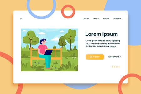 Young woman working with laptop in park. Bench, nature, garden flat vector illustration. Freelance and vacation concept for banner, website design or landing web page  イラスト・ベクター素材
