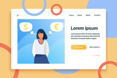 Woman standing and thinking about currency rate. Euro, dollar, cash flat vector illustration. Finance and investment concept for banner, website design or landing web page