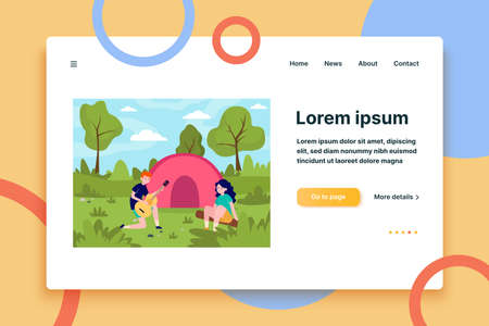 Young couple camping in forest. Guitar, tent, together flat vector illustration. Nature and love concept for banner, website design or landing web page