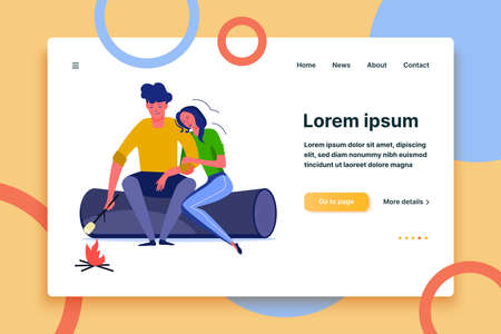 Young couple frying marshmallow. Couple, romance, flirt, date flat vector illustration. Leisure activity and free time concept for banner, website design or landing web page