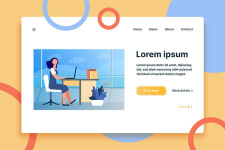 Woman working in office. Employee, worker, manager, interior flat vector illustration. Workplace, professional, business concept for banner, website design or landing web page